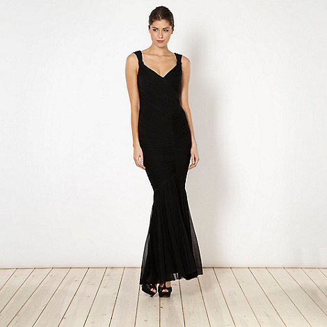 Debut - Black ruched mesh fishtail dress