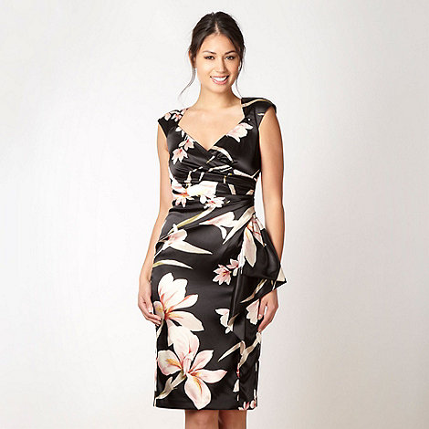Debut - Black satin oriental floral evening dress