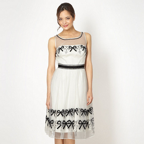 Debut - Online exclusive ivory embroidered mesh prom dress