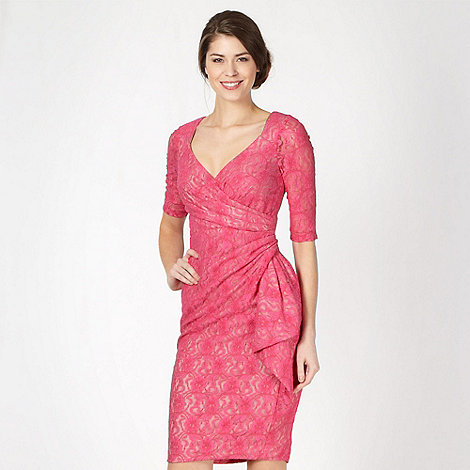 Debut - Pink lace cut out back dress