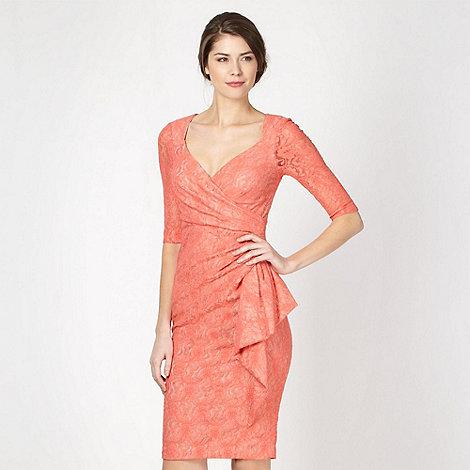 Debut - Orange lace cut out back dress