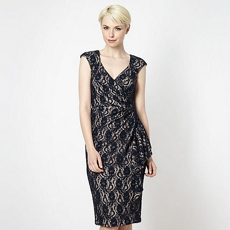 Debut - Dark blue lace cut out dress