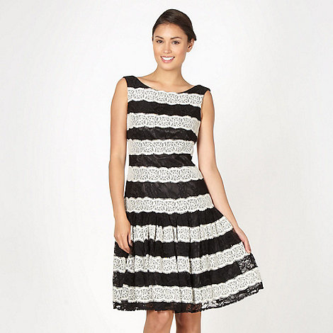 Debut - Black dropped waist striped lace dress