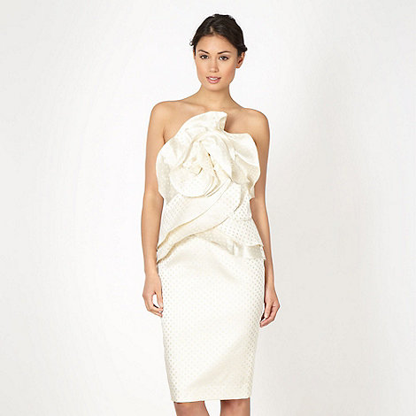 Debut - Online exclusive light gold origami bandeau prom dress