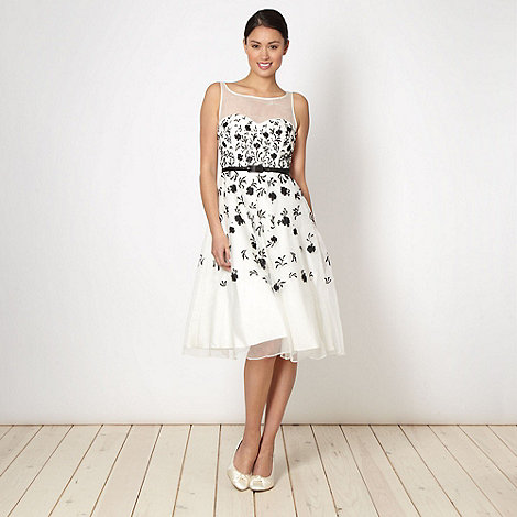 Debut - Online exclusive cream embroidered organza prom dress