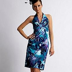 Debut - Turquoise floral halter shift dress