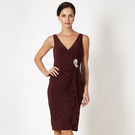 Debut - Dark purple waterfall cocktail dress