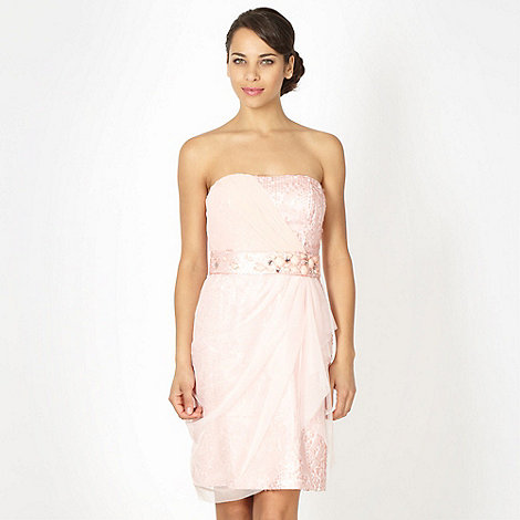Debut - Light pink asymmetric draped bandeau dress