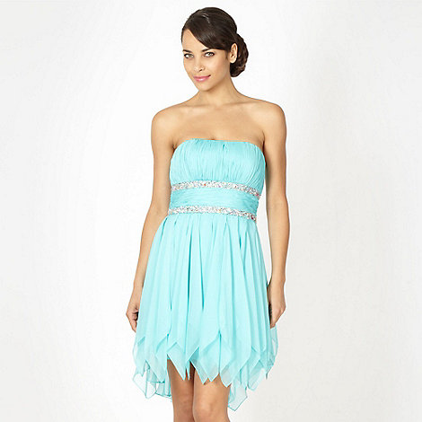 Debut - Aqua beaded high low hem babydoll dress