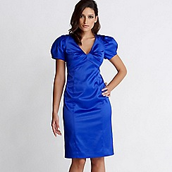 Debut - Blue satin puff sleeve shift dress