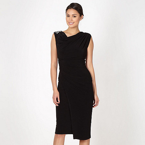 Debut - Black embellished jersey midi cocktail dress