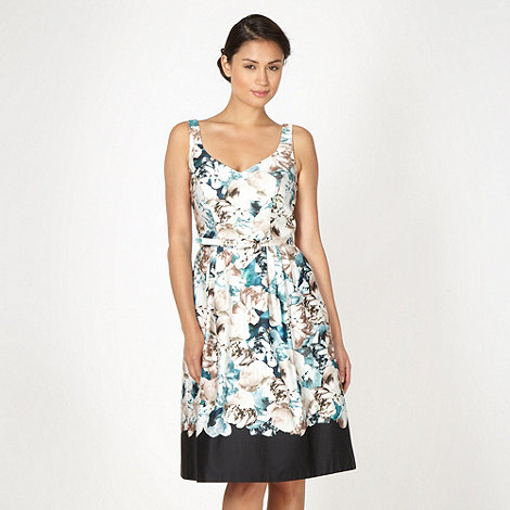 Debut - Turquoise graphic peony flower prom dress