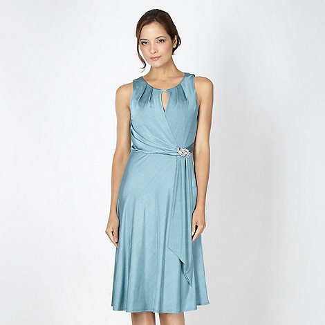 Debut - Turquoise jersey brooch dress