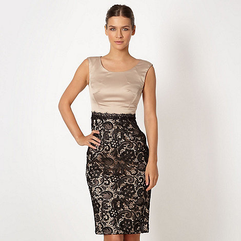 Debut - Light gold lace shift dress