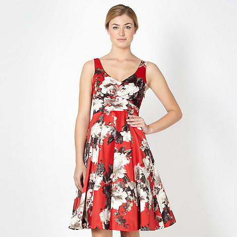 Debut - Red blurred floral prom dress