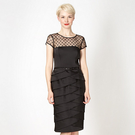 Debut - Black sheer belted layered satin dress