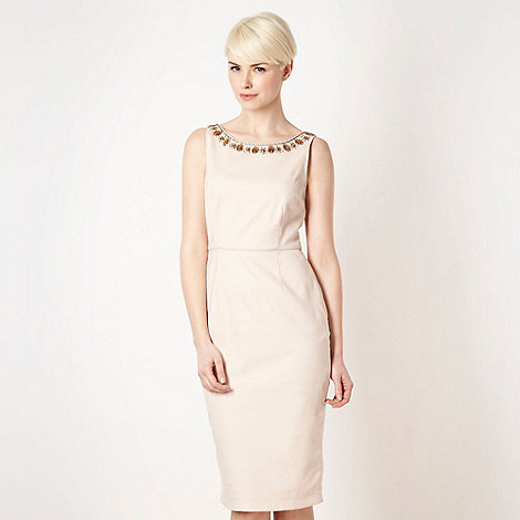 Debut - Pale pink embellished neck shift dress
