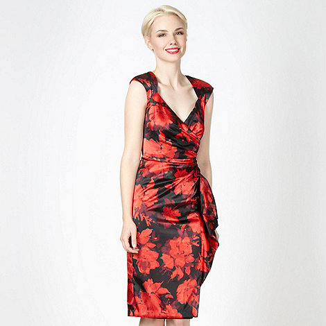 Debut - Black floral satin shift dress