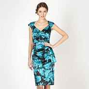 Turquoise floral satin shift dress