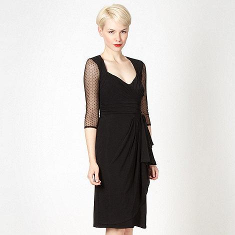 Debut - Black chiffon wrap waterfall dress