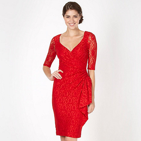 Debut - Red lace waterfall dress