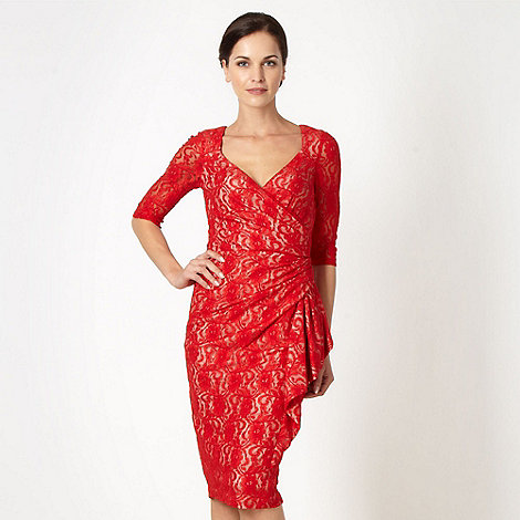 Debut - Red lace waterfall cocktail dress