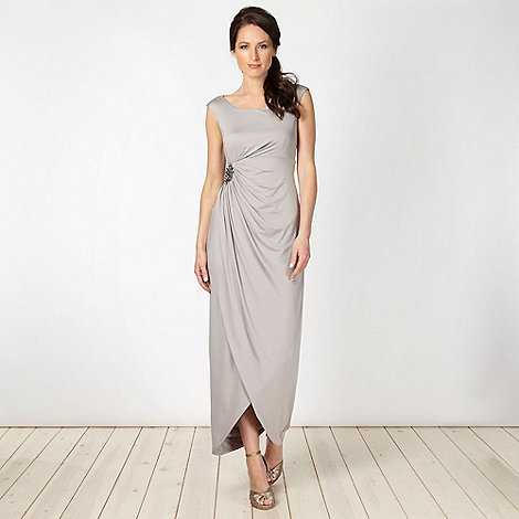 No. 1 Jenny Packham - Designer grey diamante brooch maxi dress