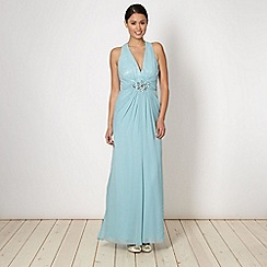 No. 1 Jenny Packham - Designer aqua embellished cross over maxi dress