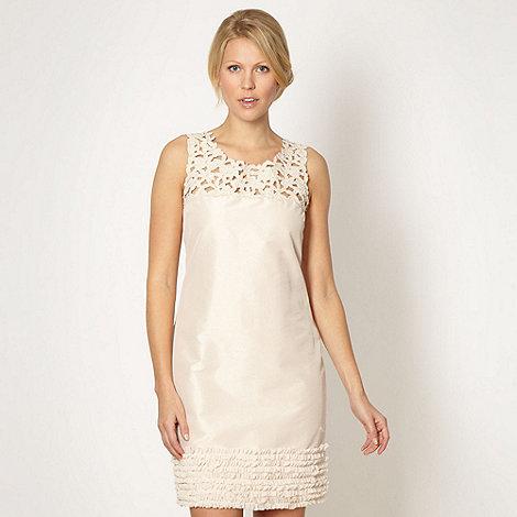 No. 1 Jenny Packham - Designer light gold ruffle hem embellished shift dress