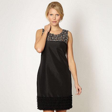 No. 1 Jenny Packham - Designer black ruffle hem embellished shift dress