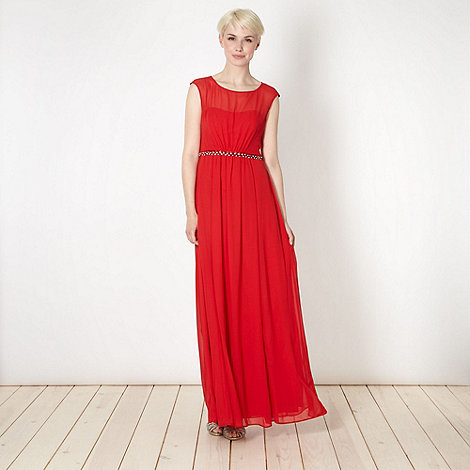 No. 1 Jenny Packham - Designer red embellished waist maxi dress