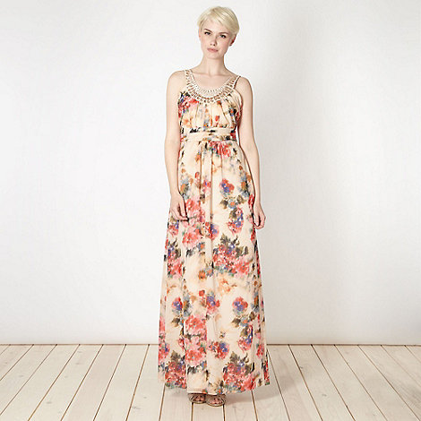 No. 1 Jenny Packham - Designer cream abstract floral maxi dress