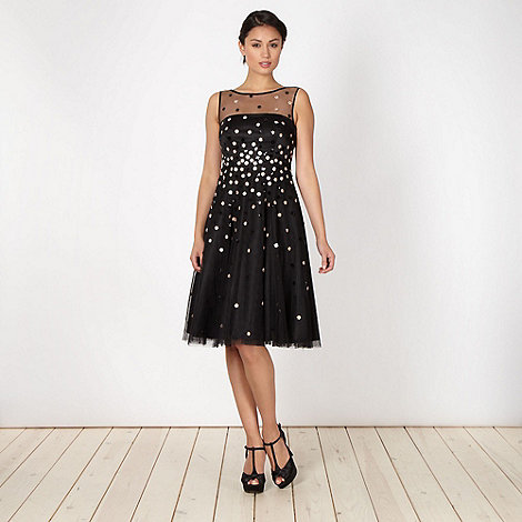 No. 1 Jenny Packham - Designer black flower sequin prom dress