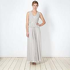 No. 1 Jenny Packham - Designer light grey embellished peplum maxi dress