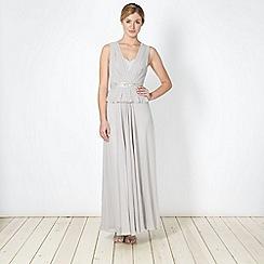 No. 1 Jenny Packham - Designer light grey embellished peplum maxi dress