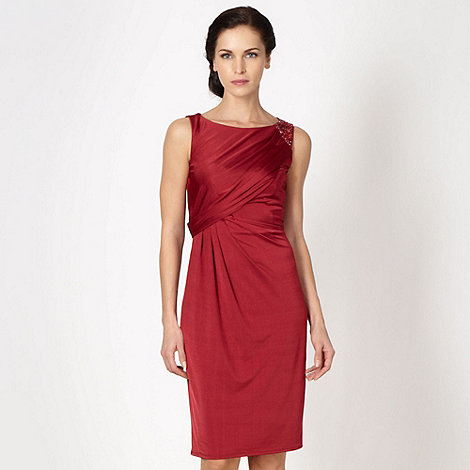 No. 1 Jenny Packham - Designer dark red embellished shoulder dress