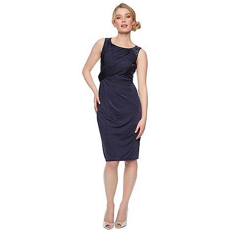 No. 1 Jenny Packham - Designer dark blue embellished shoulder dress