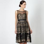 Designer black embroidered overlay dress