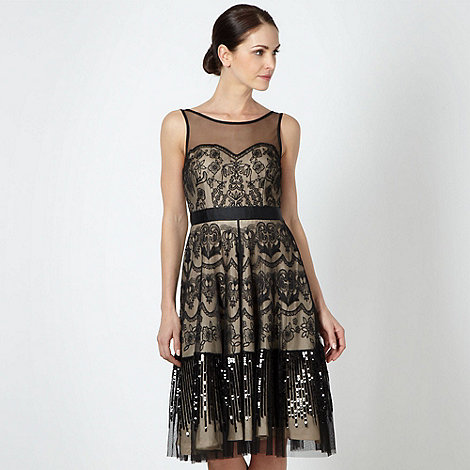 No. 1 Jenny Packham - Designer black embroidered overlay dress