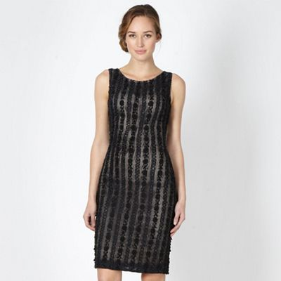 Designer black embellished shift dress