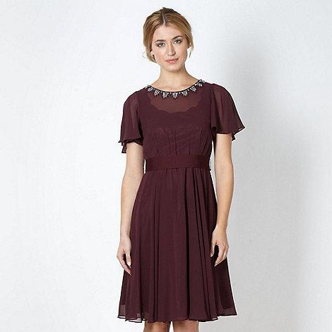 No. 1 Jenny Packham - Designer plum embellished chiffon evening dress
