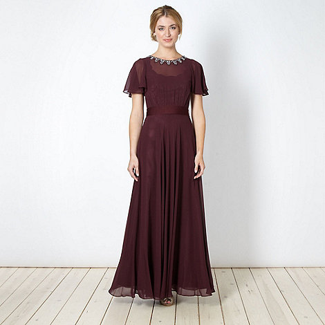 No. 1 Jenny Packham - Designer plum embellished chiffon maxi evening dress