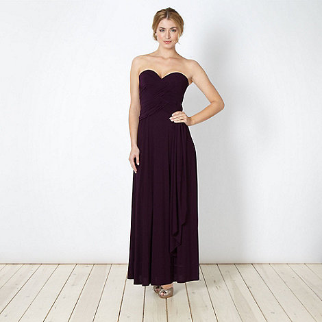 No. 1 Jenny Packham - Designer purple pleat maxi bandeau dress