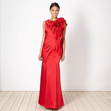 No. 1 Jenny Packham - Designer red satin draped corsage maxi dress