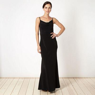 Designer black embroidered mesh dress