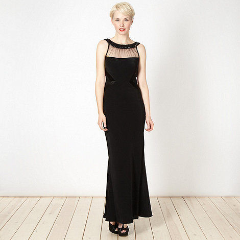 Pearce II Fionda - Designer black embellished maxi evening dress