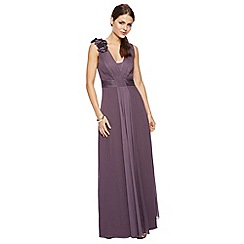 Debut - Sara Corsage Shoulder Satin Mix Maxi Dress