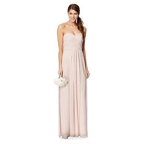 Debut - Nude pleated bodice bandeau maxi dress