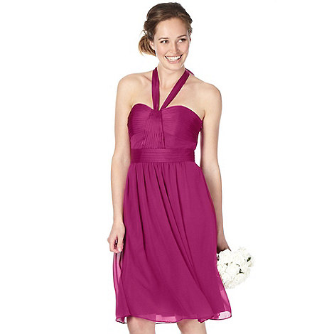 Debut - Dark pink mixed satin pleat halter neck dress