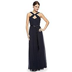Debut - Navy blue twist neck maxi occasion dress
